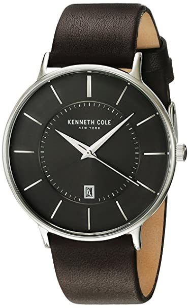 Kenneth Cole New York Men's 'Classic' Quartz Stainless Steel and Leather Dress Watch, Color:Brown (Model: KC15097005) Men at amazon