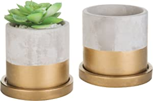 MyGift Cylindrical Cement & Gold-Tone Mini Planters with Drip Trays, Set of 2