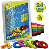 Mosquito Repellent Bracelet For Kids, Adults & Pets - Travel Insect Repellent Design For Maximum Protection Against Bugs, Pests, Waterproof - 24 Pack with FREE BONUS 12 patches