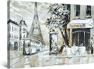 """Startonight Canvas Wall Art Decor Street View of Paris Beige Painting for Living Room 32"""" x 48"""""""