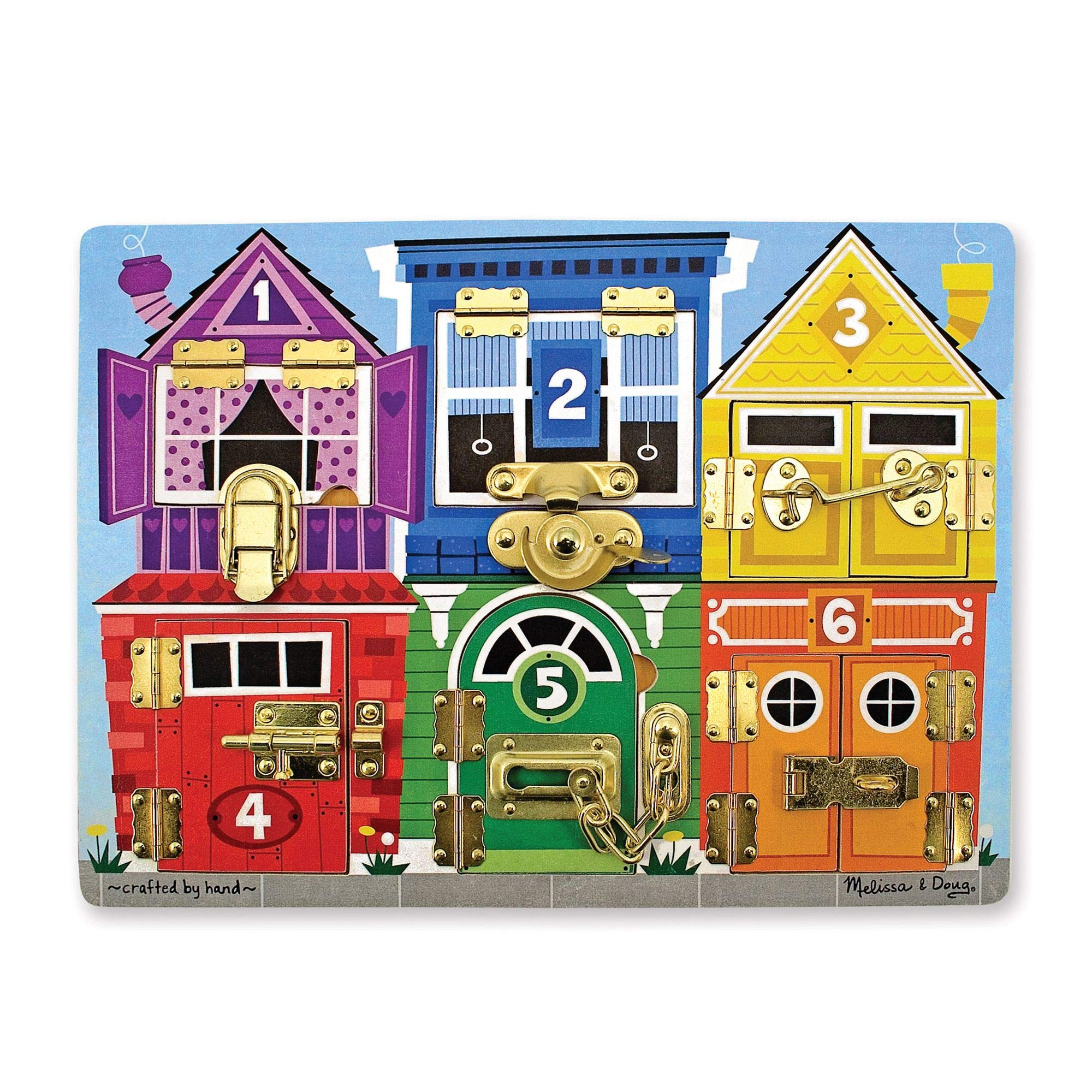 Melissa & Doug Wooden Latches Board, Developmental Toy, Helps Develop Fine Motor Skills, Smooth-Sanded Wood, 15.5'' H x 11.5'' W x 1.25'' L