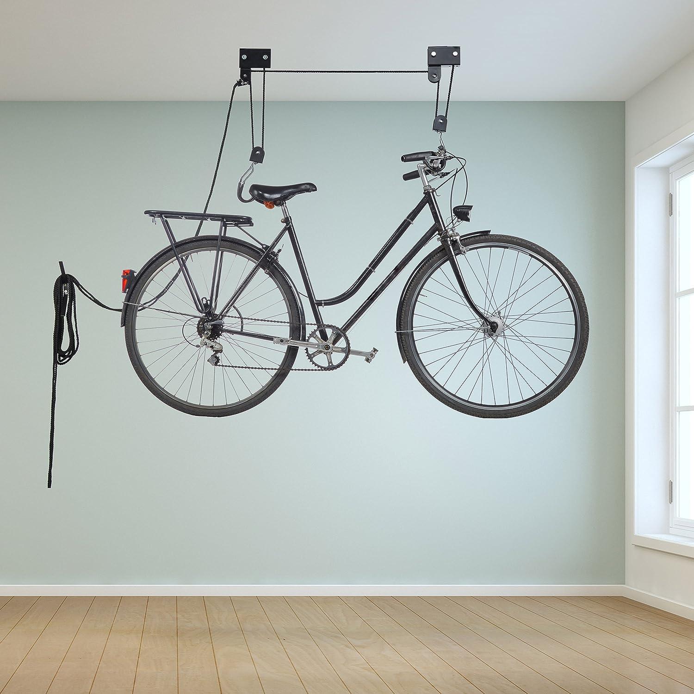 Relaxdays Colgador Bicicleta Techo, Metal, Negro, Hasta 45 kg ...