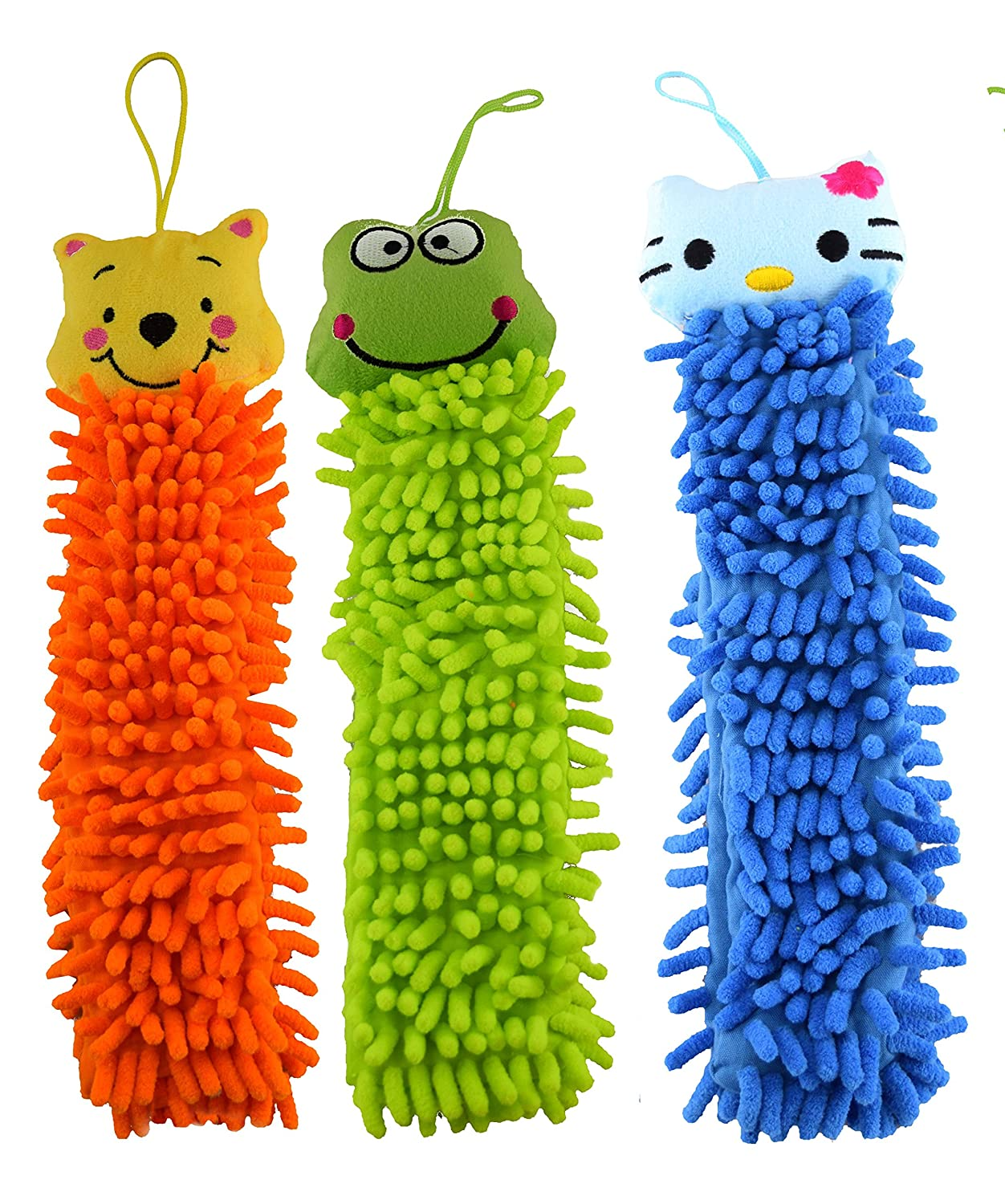 Rangebow Pack of 3 mix Colour Mix Random Pattern Microfiber Hanging Hand Towels for Kids, Animal Face Fingertip Towels, Soft Chenille Gothi Creations RBHT01