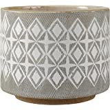 "Amazon Brand – Rivet Geometric Ceramic Planter Pot, 4.1""H, Grey"