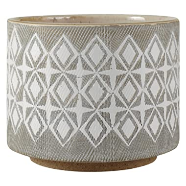 Rivet Geometric Ceramic Planter, 4.1 H, White and Grey