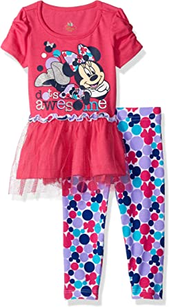 Minnie Mouse Size 4T Bows and Flowers Tulle Pajama Pants Set