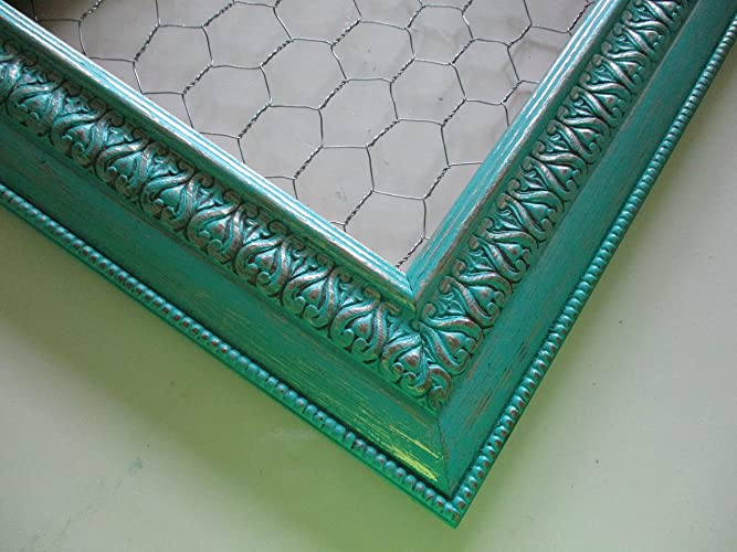Amazon.com: Teal, Chicken Wire Frame, Distressed Gold, Shabby Chic ...