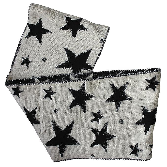 FERETI Souple écharpe Avec étoiles Écru Noir Etole Tube Circulaire Foulard  Tricot Ronde Snood  Amazon.fr  Vêtements et accessoires 50bf9b5a5a4