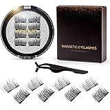 Vassoul Dual Magnetic Eyelashes, Natural Half Lash, 0.2mm Ultra Thin Magnet, Light weight Reusable 3D Eyelashes with Applicat