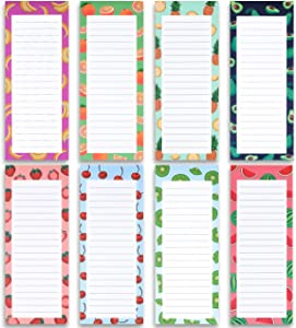8 Magnetic Notepads - Large Notepads for Grocery List, Shopping List, To-Do List, Reminders, Recipes -Magnetic Back- Memo Notepad with Realistic Fruit Designs | 60 Sheets per Pad 9 x 3.5 inch (8 Pack)
