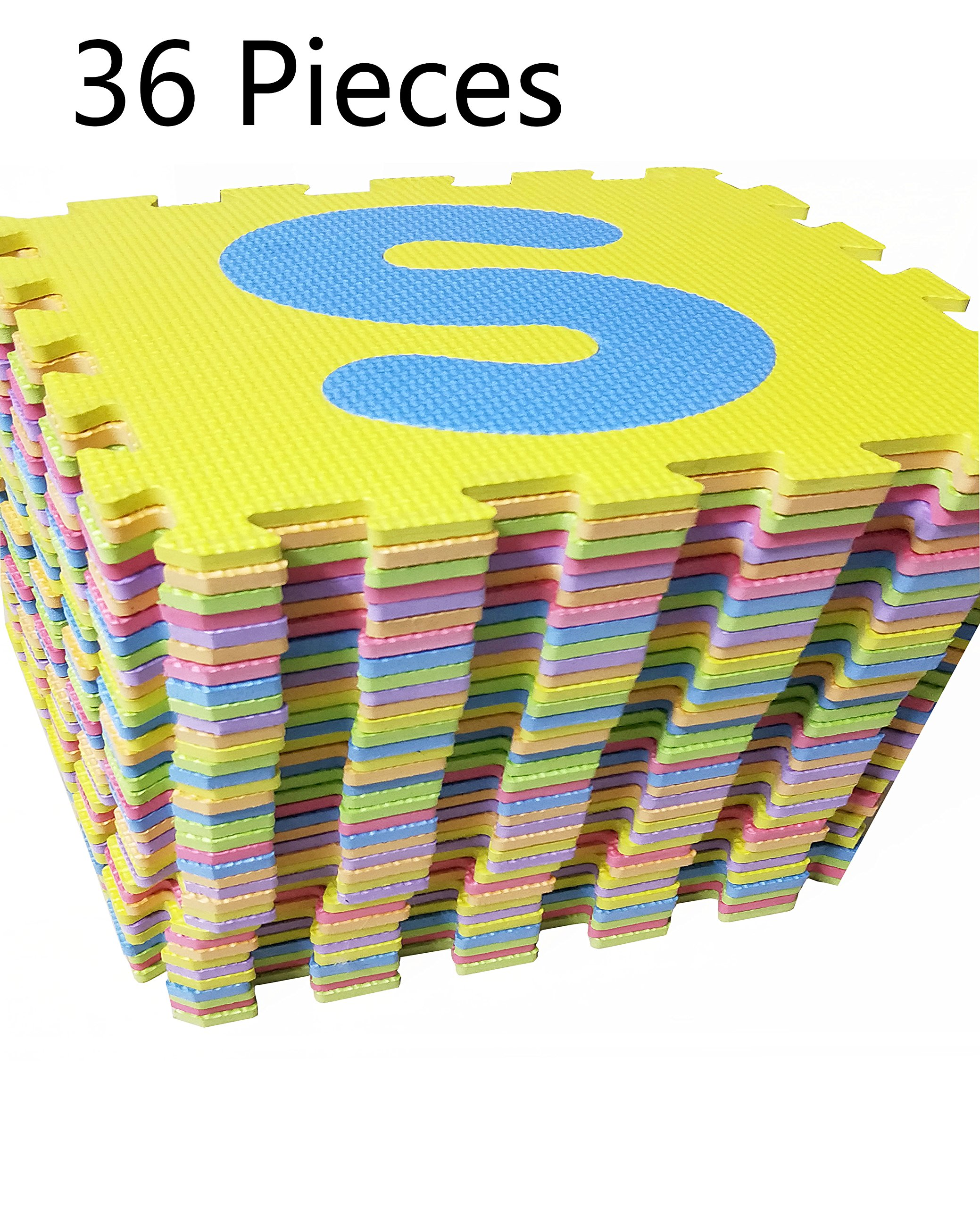 Puzzle Play Mat,Foam Floor Play Mat,Foam Interlocking Tiles,Alphabet & Number Foam Puzzle Mat,NON-TOXIC EVA 36 Piece Multi-Color Children Play & Exercise Mat (Large) (Large) by Chuanyue (Image #5)
