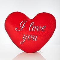 """Lumaland """"I Love You"""" - Kissen Herz Knuddelkissen Plüschkissen kuschelig weich Rot weiß bedruckt 30 cm"""