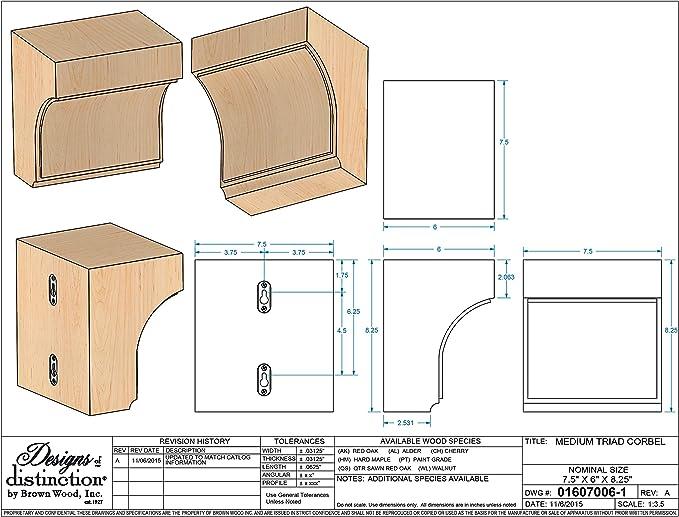 Brownwood 01607006 CH1 Triad madera ménsula, tamaño mediano, Cherry: Amazon.es: Bricolaje y herramientas