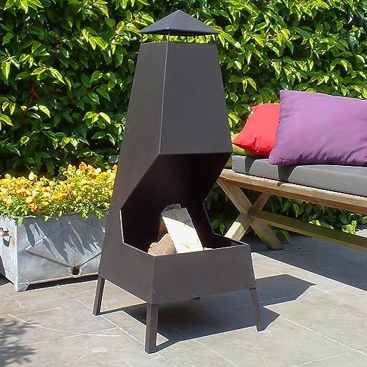 Chimenea de jardin Leon - chimenea de exterior con un acabado en negro resistente al calor: Amazon.es: Jardín