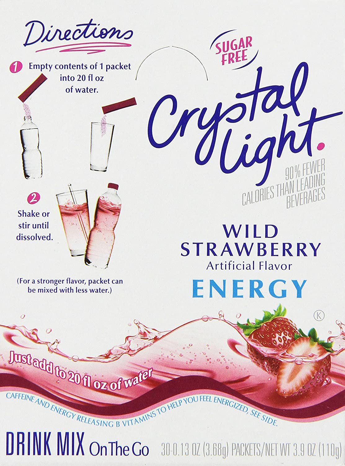 Crystal Light On-the-Go Wild Strawberry Energy Mix, 2.4 oz. pack, Pack of 30