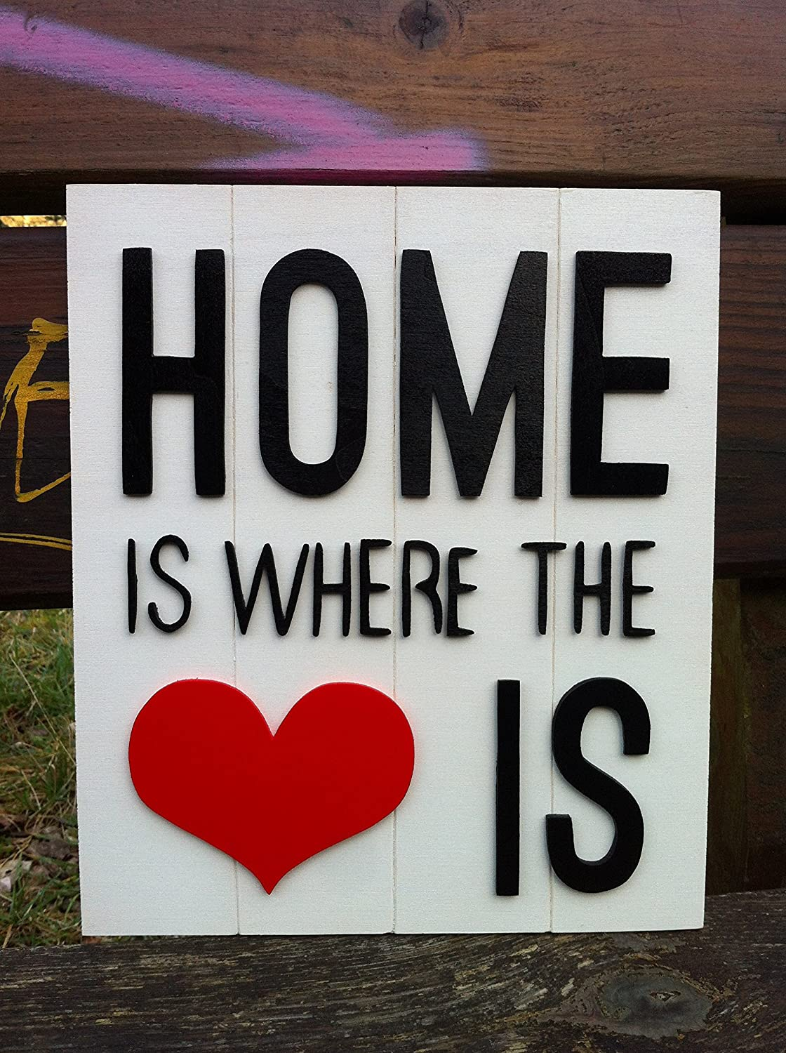 Home love cartel de madera