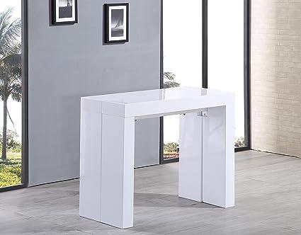 Tavolo Bianco Laccato Lucido Allungabile.Tavolo Consolle Allungabile Fino A 3 Metri Bianco Laccato Lucido