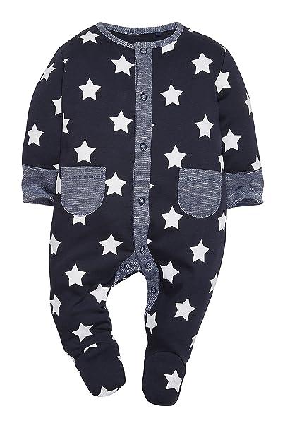 next Bebé Niños Paquete De Tres Pijamas Peleles A Rayas A Estrellas Azul Marino De Algodón