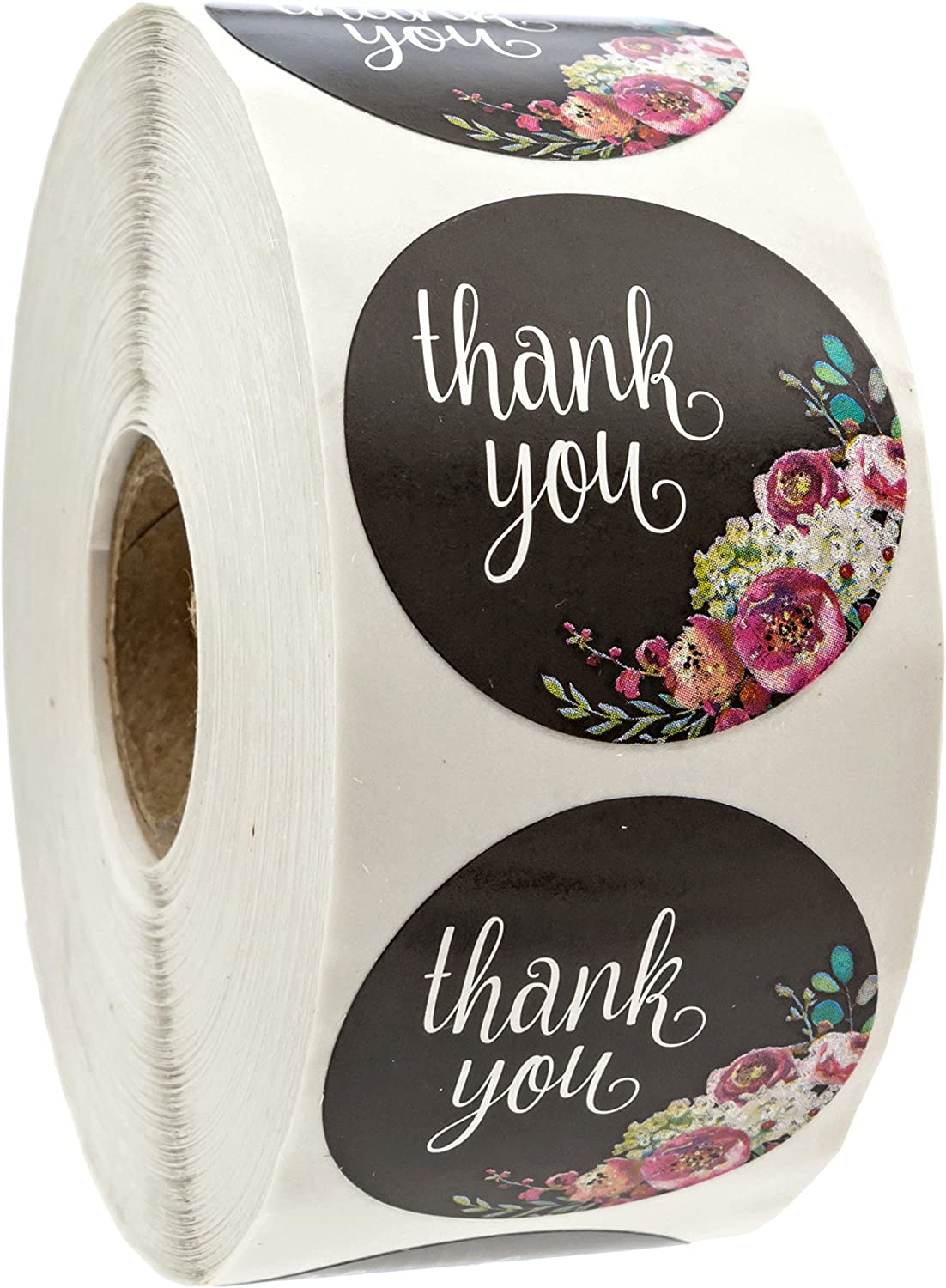 "Floral Thank You Stickers - 1.5"" Circle Labels / 1000 per Pack"