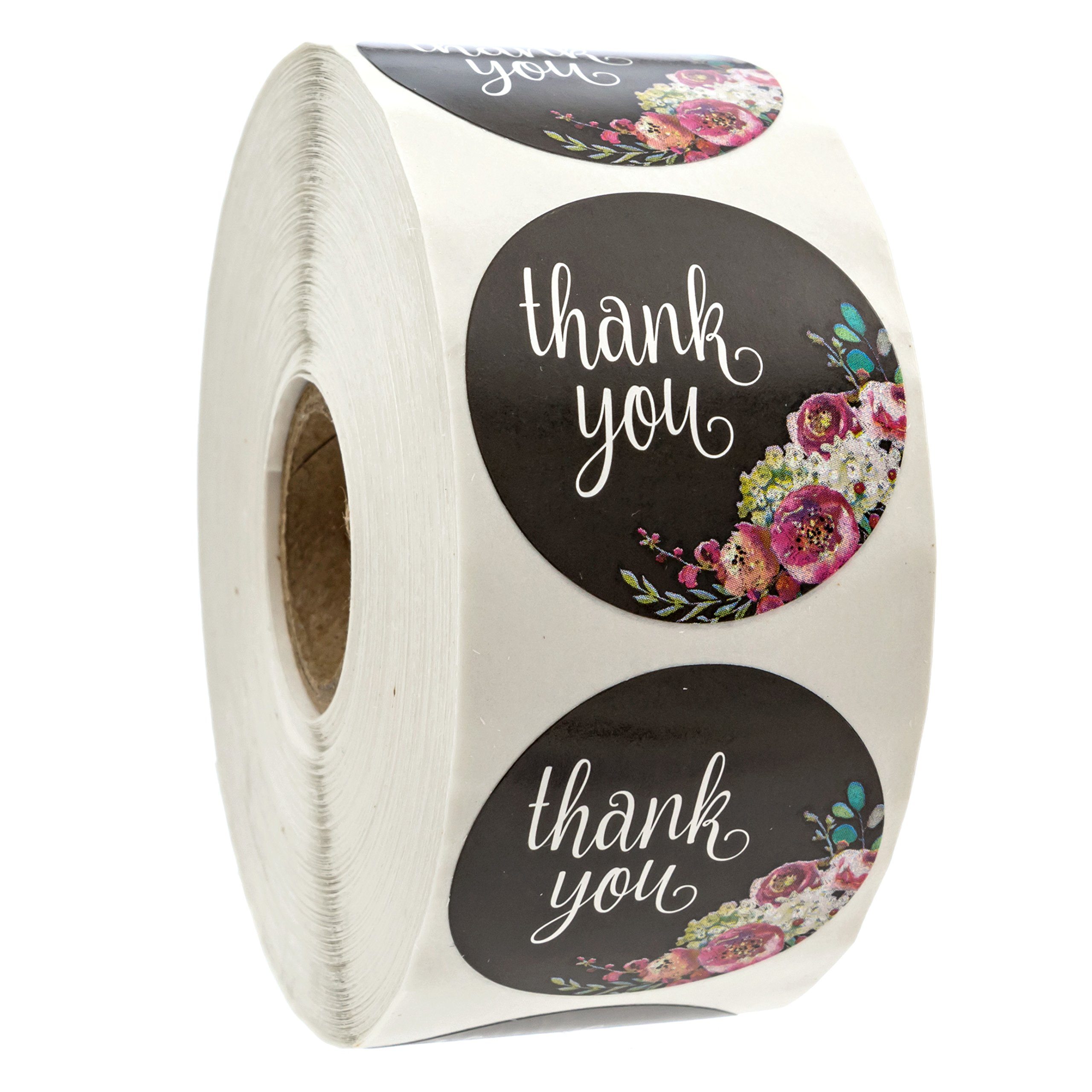 Floral Thank You Stickers - 1.5'' Circle Labels / 1000 per pack