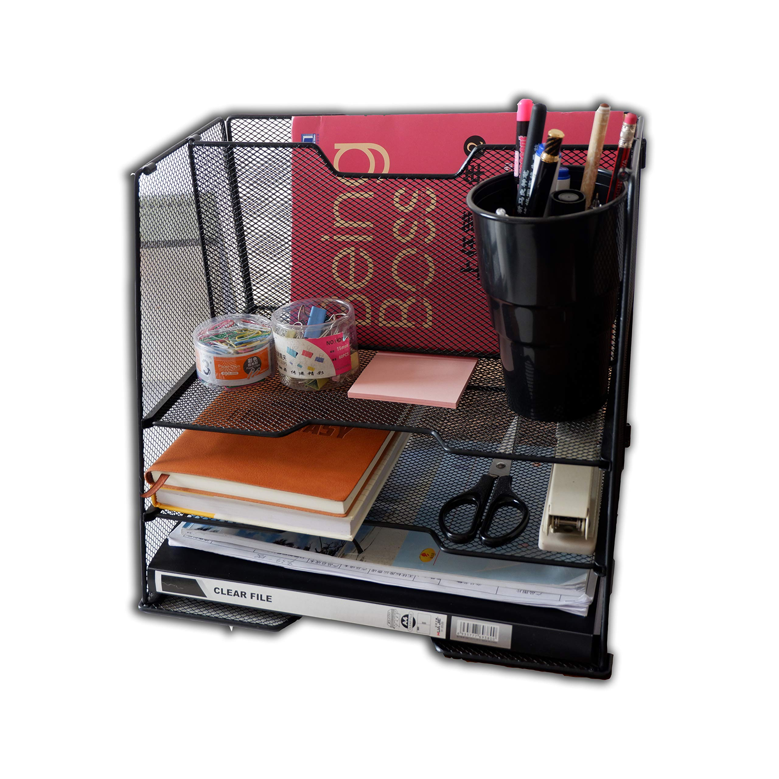 Office Desk Organizer, CoolYeah Detachable Black Metal Mesh Desk File Organizer with 3 Paper Trays and 2 Vertical Upright for Letter Size A4 and Any documents
