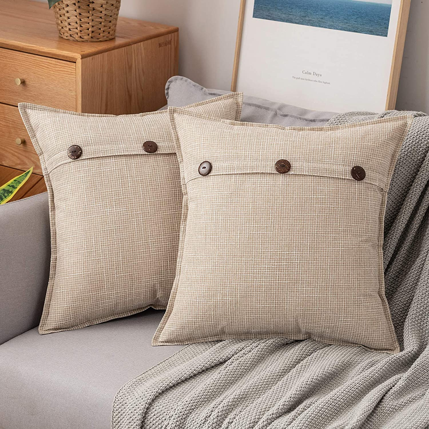 MIULEE Pack of 2 Farmhouse Linen Throw Pillow Covers Decorative Triple Button Square Pillowcases Trimmed Edge Burlap Cushion Cases for Couch Sofa Car Living Room Home Decor 18x18 Inch Beige