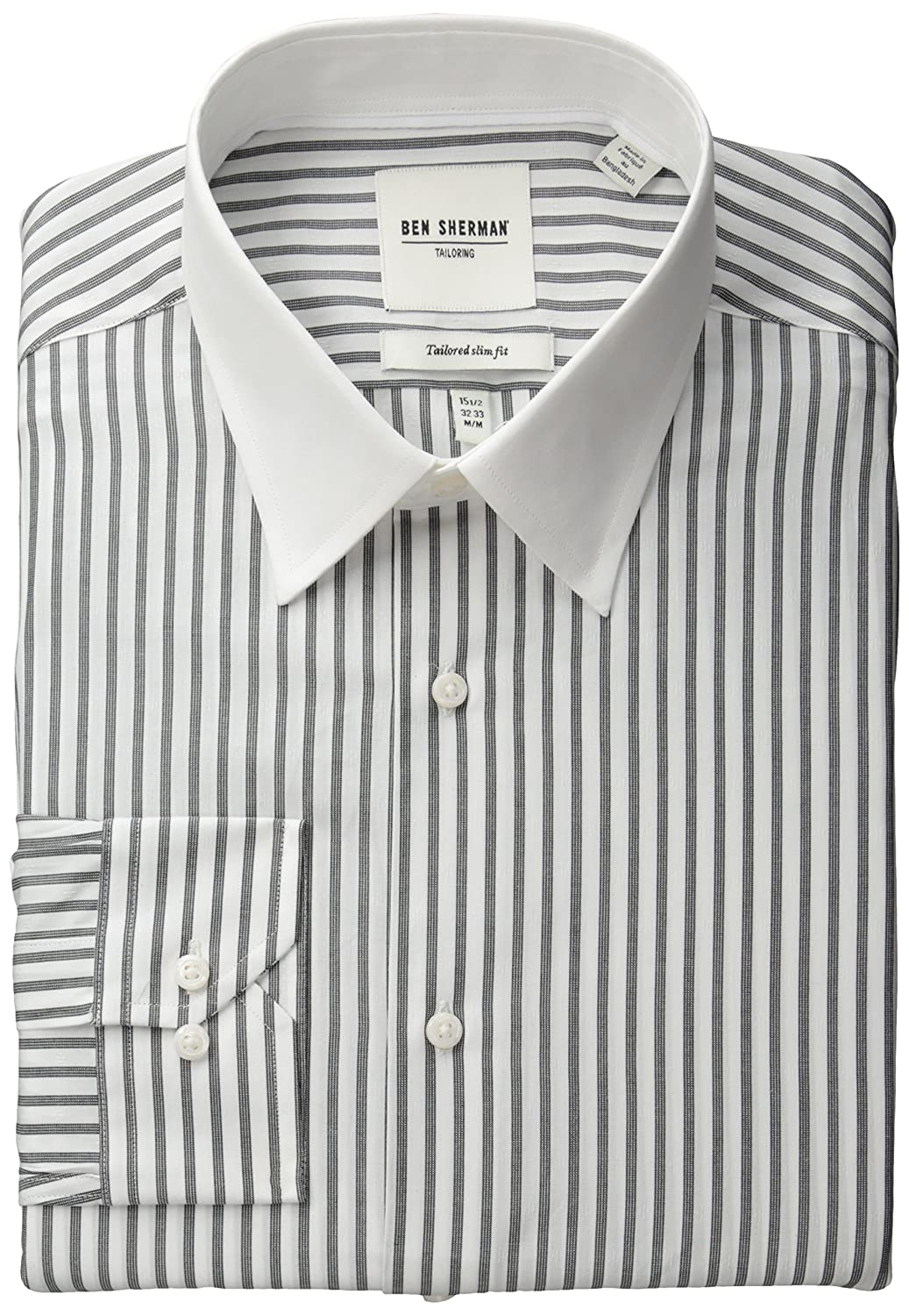 Edwardian Men's Shirts & Sweaters Ben Sherman Mens Slim Fit Dobby Stripe Bankers Collar Dress Shirt $29.95 AT vintagedancer.com