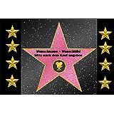 """Fussmatte """" Walk of fame """" mit Wunschname und Bild (nach dem Kauf angeben)1 - Fussmatte bedruckt Türmatte Innenmatte Schmutzmatte lustige Motivfussmatte"""