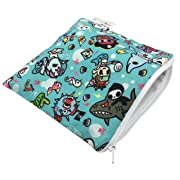 """Itzy Ritzy Reusable Snack Bag – 7"""" x 7"""" BPA-Free Snack Bag is Food Safe, Washable & Ideal for Storing Snacks, Pacifiers, Electronics & Makeup in a Diaper Bag, Purse or Travel Bag, Underwater Adventure"""
