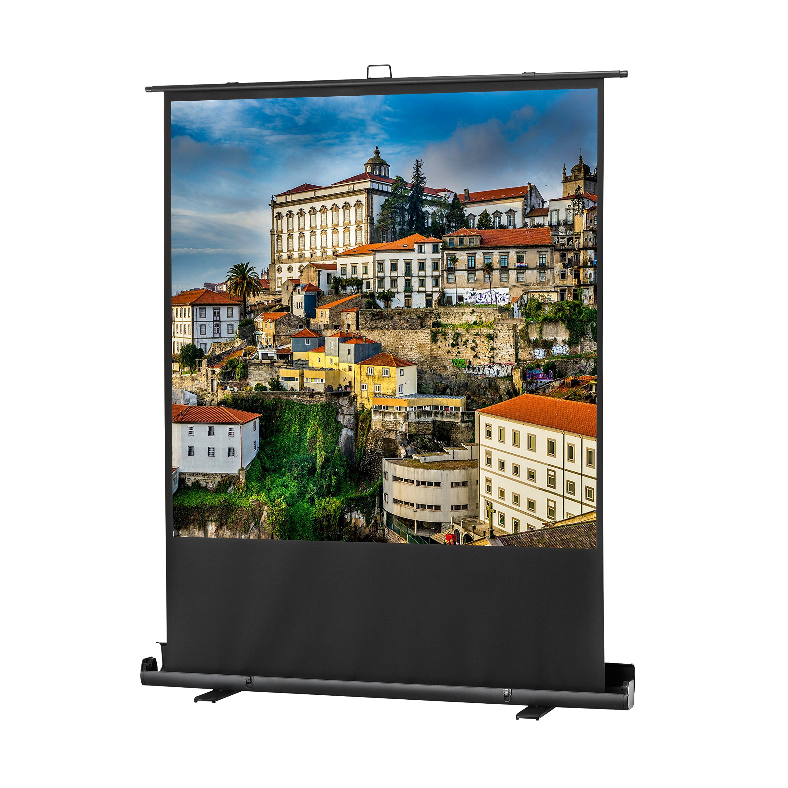 celexon 100'' Pull Up Projector Screen Mobile Professional Plus| 69'' x 69'' Viewing Area | 1:1 format | Portable floor pull up projector screen | Pneumatic Lift | Leightweight aluminium case by Celexon