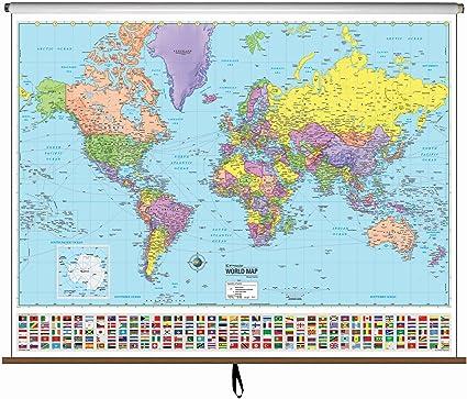 Amazon Com World Advanced Political Classroom Map On Roller