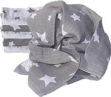 Clevere Kids Mulltücher Sterne und Punkte 6 Stück Spucktücher Mullwindeln (Stars white-grey)