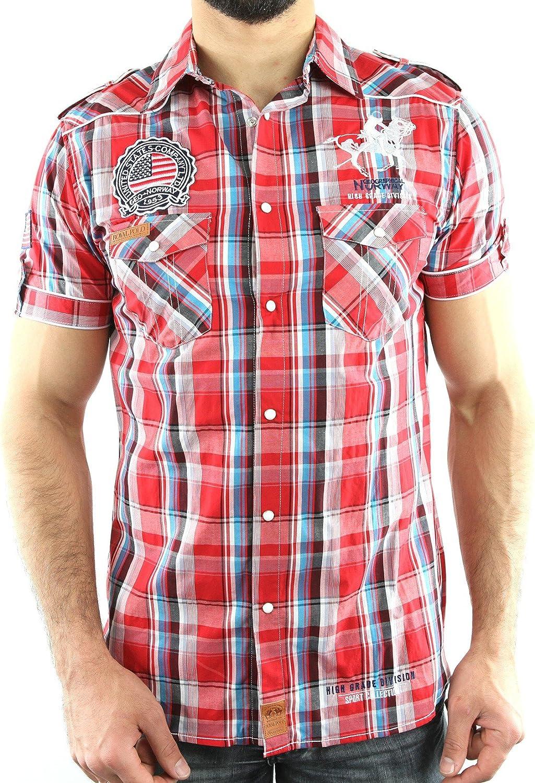 ZANAL_MEN_SS-COR - Hombre camisa escocesa - geográfica Noruega - Zanal - corto mangas de coral - moda- - Naranja, XXL: Amazon.es: Ropa y accesorios