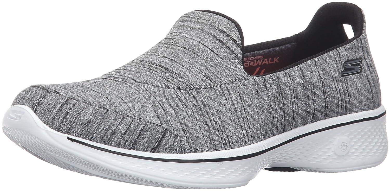 Skechers Go Walk 4-Satisfy, Zapatillas de Entrenamiento para Mujer 39.5 EU|Negro (Black/White)