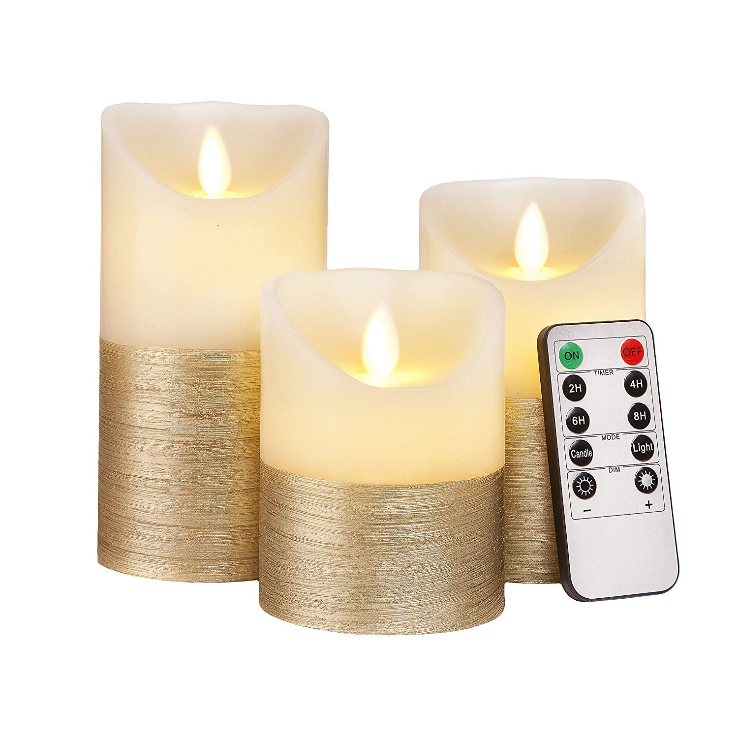 FLAMELESS Candles Flickering LED Battery Operated Electric Pillar Candle with Realistic Flicker Moving Flame with Remote Control & Timer, Real Wax Gold Trim Decorative Home Decor Gift for Women & Men