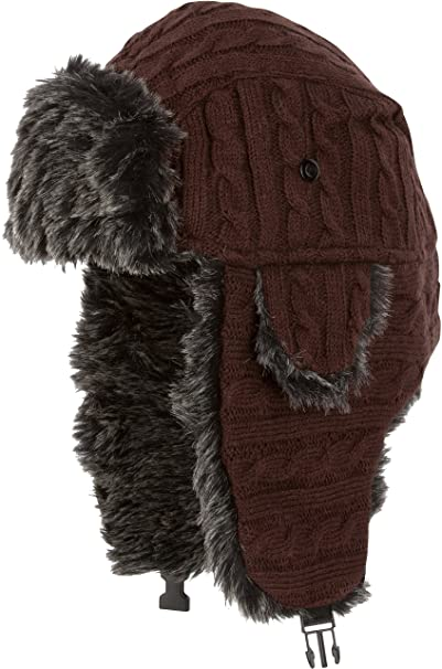 4e333977da83e Amazon.com  Sakkas CCH1514 - Turner Unisex Ribbed Knit Faux Fur Lined Chin  Strap Winter Trooper Hat - Chocolate - OS  Clothing