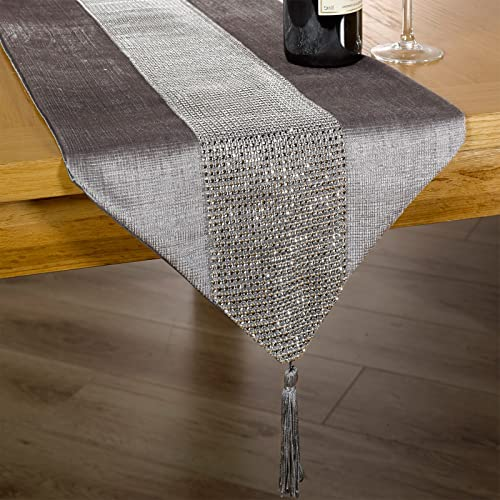 just contempo diamante table runner 13 x 72 inches silver - Silver Christmas Table Decorations