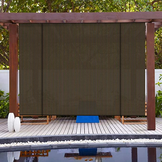 Cordless Outdoor Roller Shade Exterior Patio Roll Up Blind Fabric Almond 6 X 6