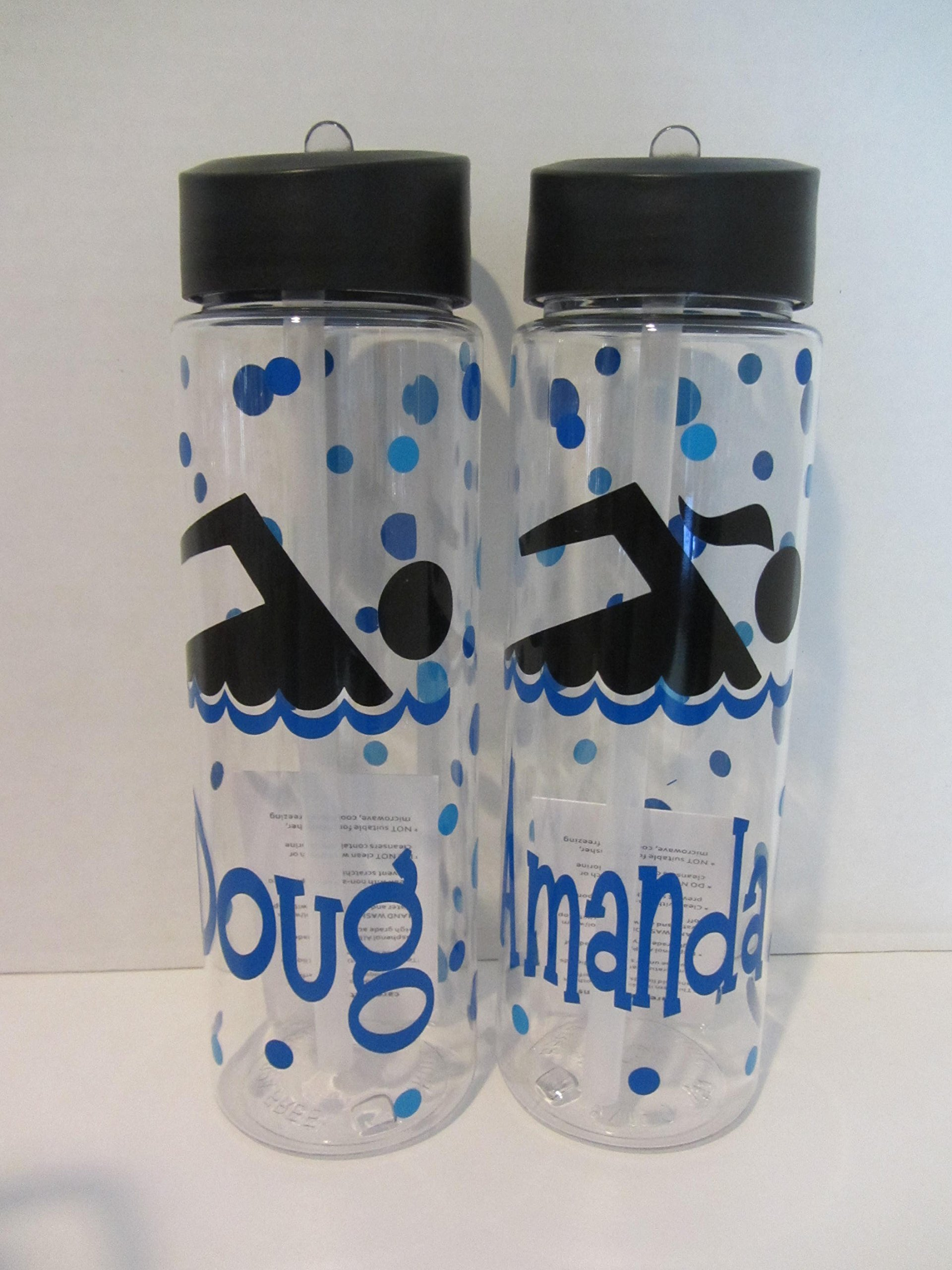 Personalized 24 ounce BPA free water bottle - swimmer, swim team, swimming