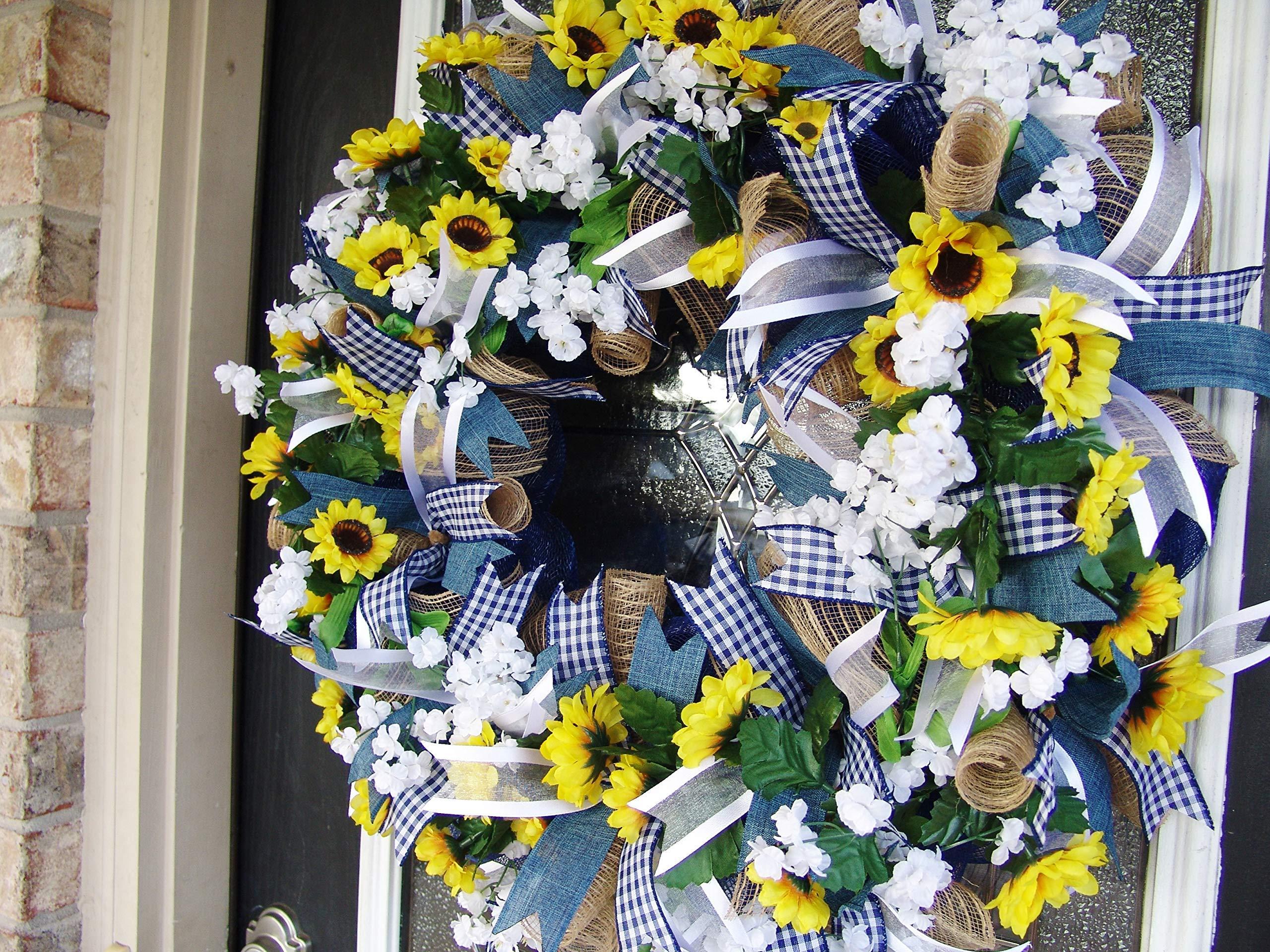 Country-Blue-Sunflower-Wreath-Decor-Fall-Spring-Summer-Front-Door-Burlap-Wedding-Farmhouse-Decor-French-Country-Decor
