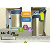 Contigo Kids, Food and Beverage MultiPack, Vaccum-Insulated Food Jar (295ml./10oz., 5 hours Hot) and AutoSeal Water Bottle (384ml./13oz., 14 hours Cold). Leak Proof. BPA Free. DishWasher Safe. Ages 3+. New from CANADA.