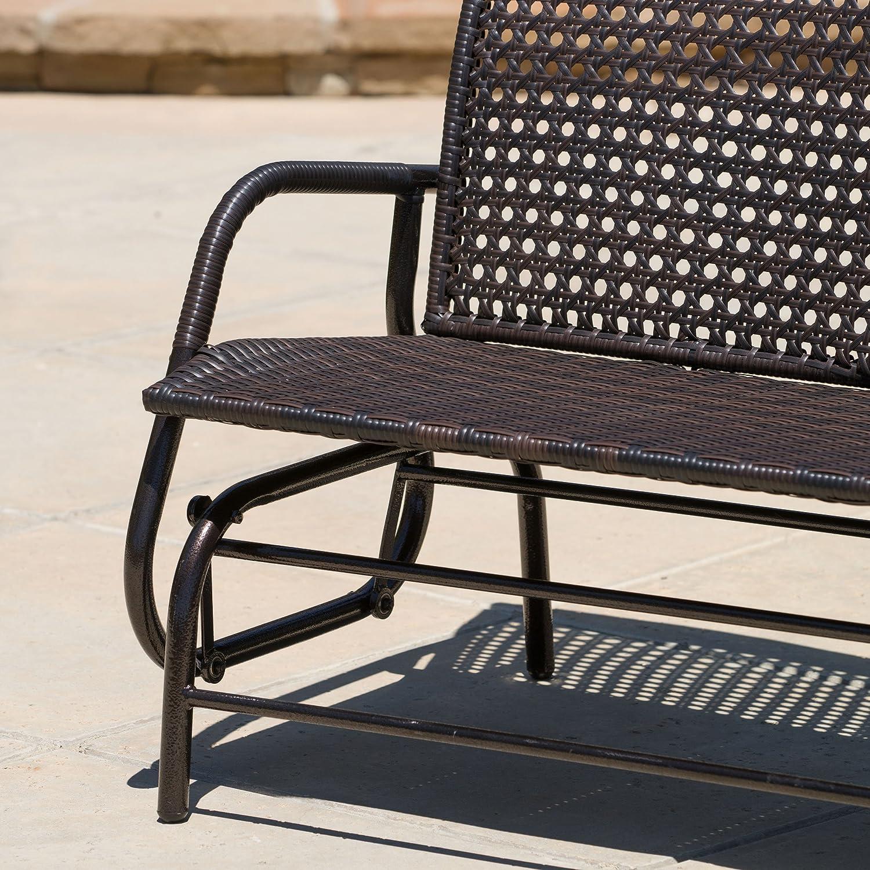 Amazon Burbank Outdoor Brown Wicker Glider Bench Porch