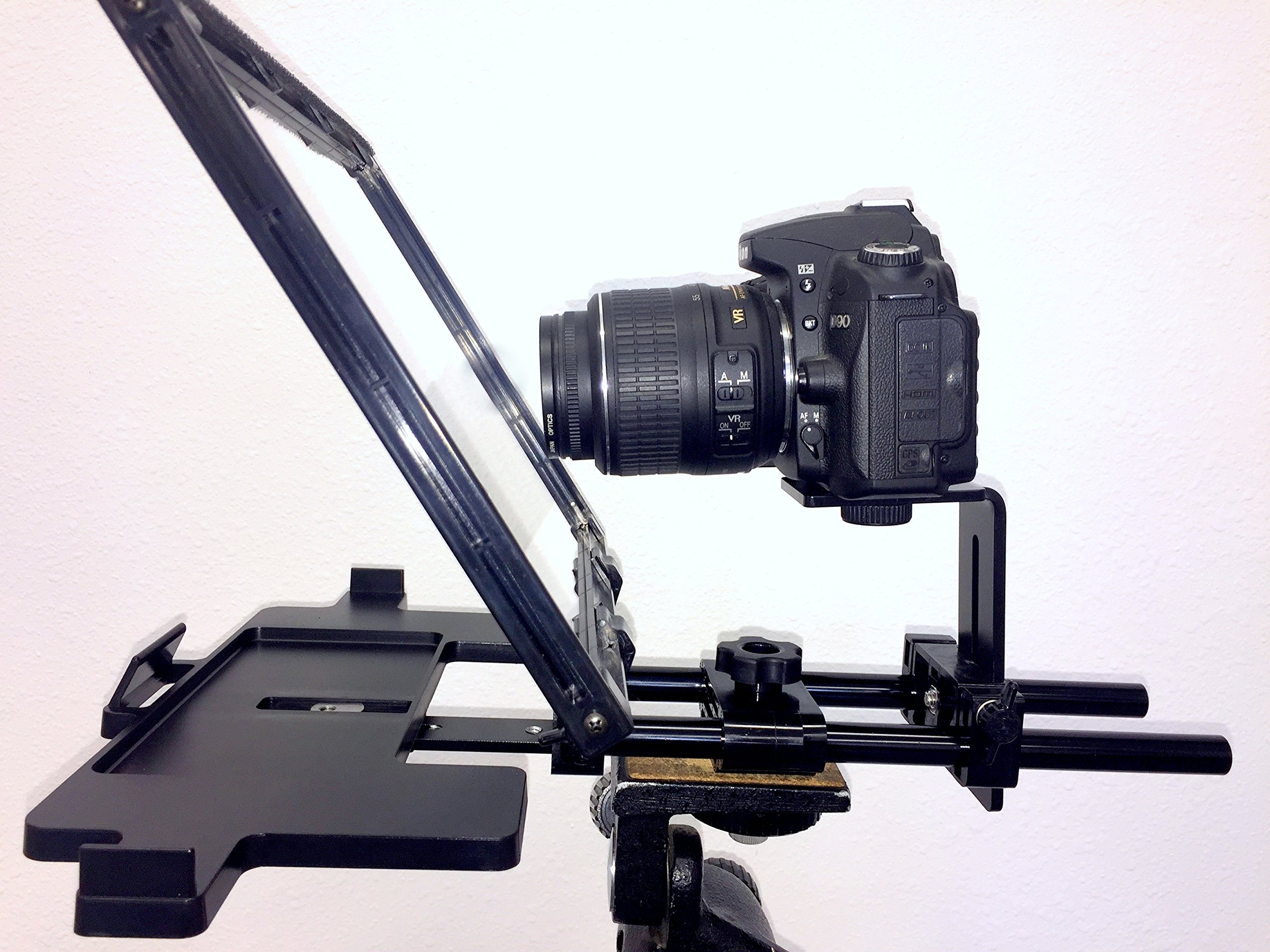 Teleprompter Simple Professional Portable use any tablet, iPad or phone. 70/30 Beam Splitter Glass. by Caddie Buddy
