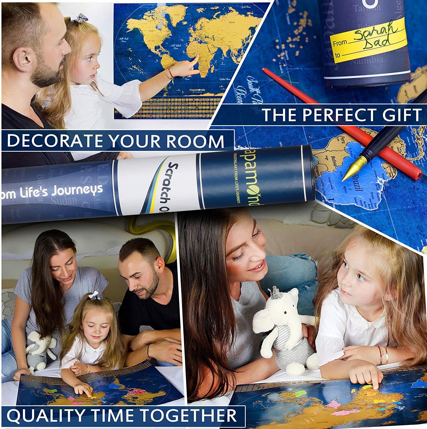Gift Packaging Vibrant Colors Best Gift for Travelers Detailed Travel Maps with Landmarks and Flags Complete Set Mapamondo Scratch Off Map of The World and US Map Poster