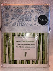 Home Environment White Queen Sheet Set with Blue Printed Hem 100% Rayon from Bamboo - Antibacterial Eco-Friendly