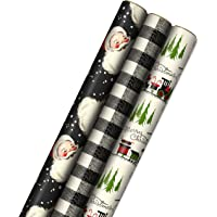 Hallmark Black Christmas Wrapping Paper with Cut Lines on Reverse (3 Rolls: 120 sq. ft. ttl) Retro Santa, Black and…