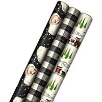 Hallmark Black Christmas Wrapping Paper with Cut Lines on Reverse (3 Rolls: 120 sq. ft. ttl) Retro Santa, Black and White Buffalo Plaid, Train and Trees