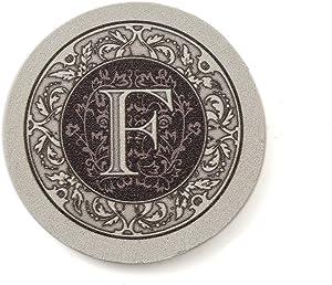 Thirstystone Absorbent Monogram Sandstone Coaster Set, Letter F