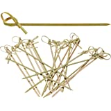 Bamboo Knot Skewers, 6 Inch Knotted Skewers, Twisted Ends Bamboo Picks Cocktail Picks 100 Ct