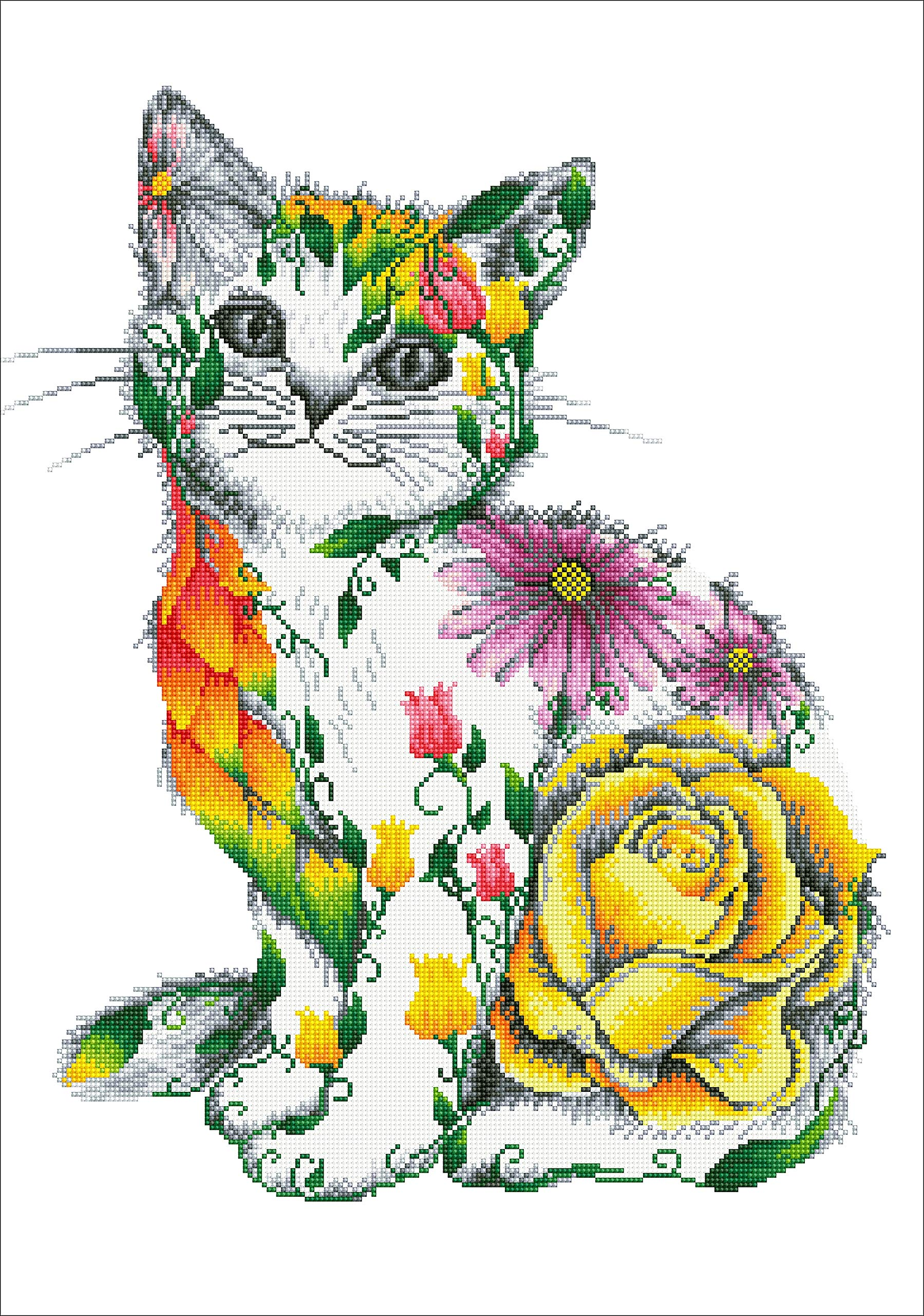 Needleart World Diamond Dotz Diamond Embroidery Facet Art Kit 21.7''X30.7''-Flower Puss